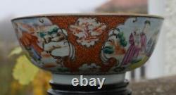 18ème Siècle Chinois Rose Mandarin Grande Bowl Période Qianlong