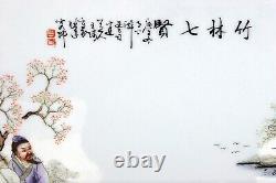 1930 Grand Antique Asiatique Chinois Carrelage Peint À La Main Peinture Sur Porcelaine Plaque