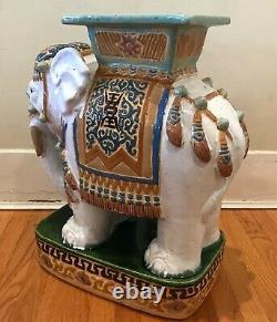 1970 Grand Vintage Stand Céramique Elephant Plante / Desserte Signée