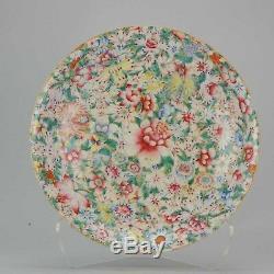 19 / 20c Porcelaine Chinoise Grande Plaque De 37cm Millefleur Qianlong Marquée Fleurs