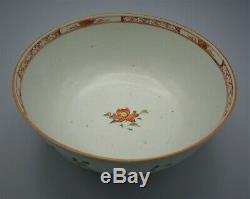 19 C Antique Chinese Fine Grande Famille Rose Bowl Avec La Conception Florale