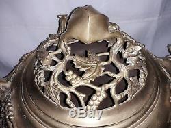 19 Ème Grand Brûleur D'encens En Bronze Doré Avec Vases