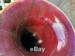 19 Grand Fine Et Rare Antique Qing Chinois Période Flambe Glacé Vase Boeuf 48 CM