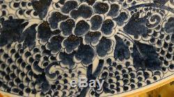 19c Antique Chinois En Porcelaine Bleu Fleurs Grand Saladier, 16diam Chargeur