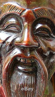 19c Antique Chinois Grand Bois De Rose Sculpté À La Main Statue De Pêcheur