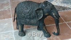 19c Antique Chinois Très Grand Bronze Statue D'éléphant D'ornement