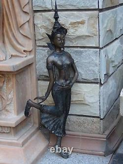 19c Antique Grand 28h Chinois Statue En Bronze De Quan Yin