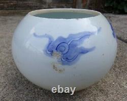 19e C. Porcelaine Chinoise Bleu Et Blanc Grande Brosse Laver / Bol Avec Dragon
