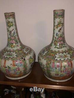19ème Siècle Chinois Famille Bouteille Médaillon Rose Vases Grande Paire Qing Période