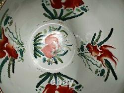 20ème Siècle Grand Chinois Famille Rose Médaille De Poisson Bol Vase Qianlong Marqué