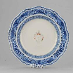 28.2cm Grande Antique 18c Couronne Chinoise De Plat Blindé De Porcelaine