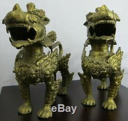 2 Grand Gardien Foo Chiens Set Chinois Temple Laiton / Bronze Foodog Antique Métal