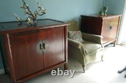 2 Grand Vintage Main Chinoise Fait Style De Rangement En Bois De Mariage Cabinet / Armoire