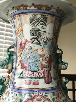 2. Rare Grand Vase En Porcelaine De Chine Famille Rose Antique Du Xixe Siècle