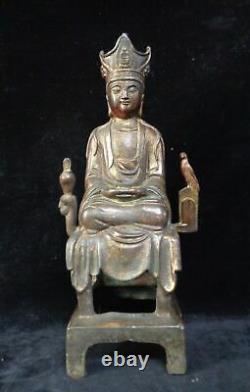 33cm Vieux Grand Chinois Gilt Bronze Guanyin Bouddha Statue Marquée Qianlong