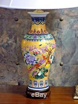 38 Grandes Grandes Paire De Lampes En Verre De Porcelaine De Chine Fait À La Main En Cloisonné Japonais
