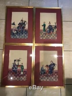 4 Grandes Peintures Encadré Antique Chinese Rice Paper, Pith