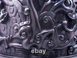 7 African Rosewood Zitan Wood 9 Dragons Sculptés À La Main Extra Large Pot À Brosse Lourde