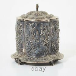 817 Grammes Grande Exportation Chinoise Silver Tea Caddy Box Shanghai Wang Hing