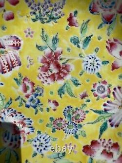 A Antique Large Chinese Famille Rose Plate-bowl Flowers Motive Fin 19ème C Tôt