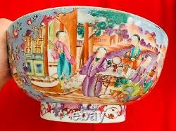 A Super Rare 18th Century Chinese Qing Dynasty Adorable Blue Large Punch Bowl