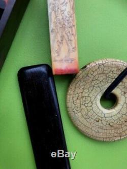 A Vintage / Antique Sceau Chinois Avec Calligraphie, En Boîte, Avec Un Grand Pendentif