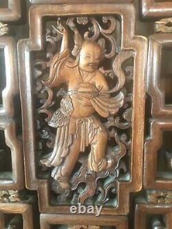 Absolument Superbe Grand Placard Chinois Antique / Garde-robe En Bois D'orme Sculpté