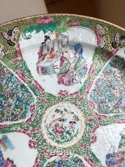 Agréable! Grand 19ème Siècle Chinois Rose Medallion Peint À La Main Porcelaine Assiette