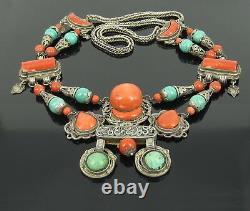 Ancien Chinois Tibétain Coral Naturel Turquoise Grande Main En Collier D'argent