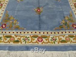 Ancien Tapis Traditionnel Chinois Fait À La Main, Tapis De Laine Orientale Bleu Grand, 410x267cm