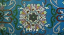 Ancienne Grande Boîte Couverte En Cloisonne 16d Chinoise Avec Un Insert Dragon Jade Dans Le Couvercle N ° 1