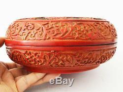 Ancienne Grande Lacquer Chinoise Cinnabar Box Bol Bois Dragon 5 Griffes