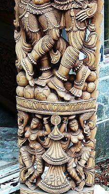 Antique18c- 19c Asie Du Sud Grand Temple En Bois À L'échelle Sculpture Percée 61h