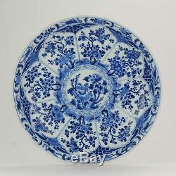 Antique 1700 Porcelaine Chinoise Kangxi Période Grand Bassin Chargeur Qing Démarqué