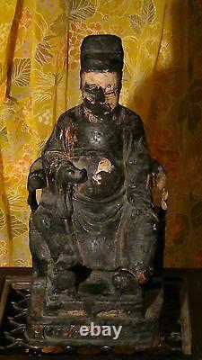 Antique 17c Chinese Bois Main Sculpté Temple Ancêtre Grande Statue, Rare