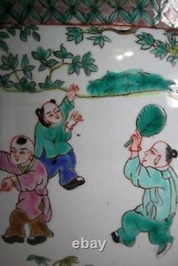 Antique 18-19 C Chinois Famille Rose Grand Pot Avec Poignées Elephant / Marqué