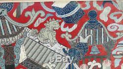 Antique 18c-19c Grand Mur De Broderie Chinoise En Or Et Argent Suspendant De La Scène Opérate