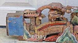 Antique 19c Chinois Grand Bois De Temple Sculpté Panneau Architectural De Dort Pirced