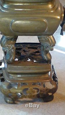 Antique 19c Chinois Grand Brass Foo-dog Incense Sur Stand, Poignees Pitch