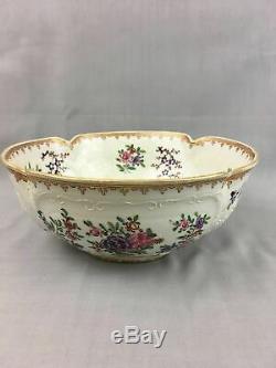 Antique 19ème C. Chinoise Export Style De Porcelaine Armorial Grand Bol Samson