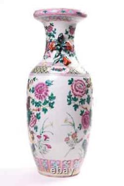 Antique 19ème Original Chinois Décoratif Grande Porcelaine Vase Famille Rose 57 CM