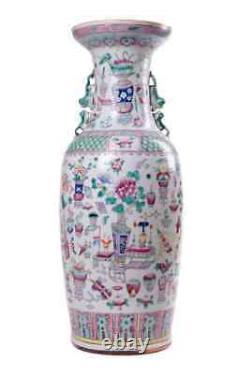 Antique 19ème Original Rare Grand Chinese Porcelaine Vase Famille Rose 61