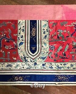 Antique C19th Grl Chinois En Soie Brodée Bannière Textiles Mariage Éponte