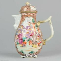 Antique Ca 1770 Famille Rose Mandarin Grande Jug Rare Qianlong Période