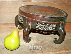 Antique Chinese En Bois Sculpté Presentoir Grand 10 1/2 Large Asiatique # 6
