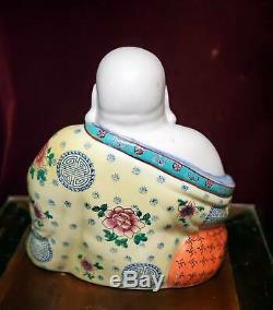 Antique Chinese Grand Porcelaine Famille Rose Bouddha Statue Début Du 20e Siècle