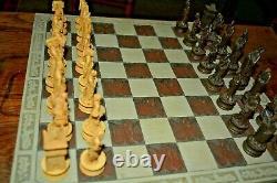 Antique Chinese Immortals Jeu D'échecs + Grande Planche Lourde- Grandes Pièces 4 Roi