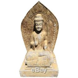 Antique Chinese Important Grand Seated Bouddha En Pierre Guan Yin Avec L'inscription