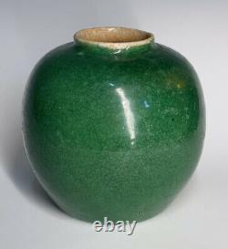Antique Chinese Qing Dynasty Apple Green Ge Crackle Large Jar Vase Monochrome