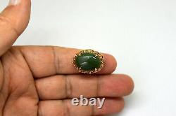 Antique Chinois 14k Or Massif Et Grande Taille De Bague De Jade D'épinards 5